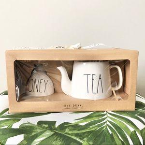NWT Rae Dunn Teapot and Honey Tea Set